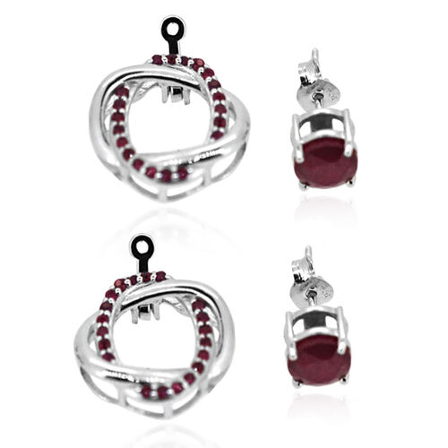 African Ruby (Rnd), Burmese Ruby Earrings (with Push Back) in Rhodium Plated Sterling Silver 4.040 Ct.