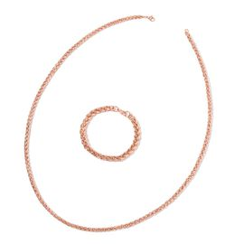 Spiga Necklace (Size 30) and Bracelet (Size 8.5) in ION Plated Rose Gold with Stainless Steel