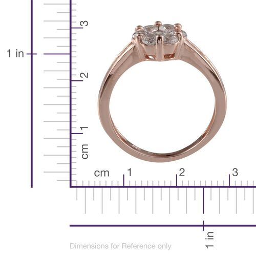 J Francis - Rose Gold Overlay Sterling Silver (Rnd) Ring Made With SWAROVSKI ZIRCONIA 1.452 Ct.
