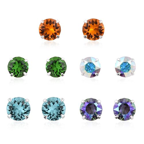 Set of 5 - J Francis Crystal from Swarovski - Shine Crystal, Fern Green, AB Colour, Turquoise and Tangerine Colour Crystal Earrings (with Push Back) in Sterling Silver