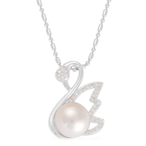 Fresh Water White Pearl and Simulated White Diamond Pendant With Chain (Size 20) in Silver Tone With Stainless Steel