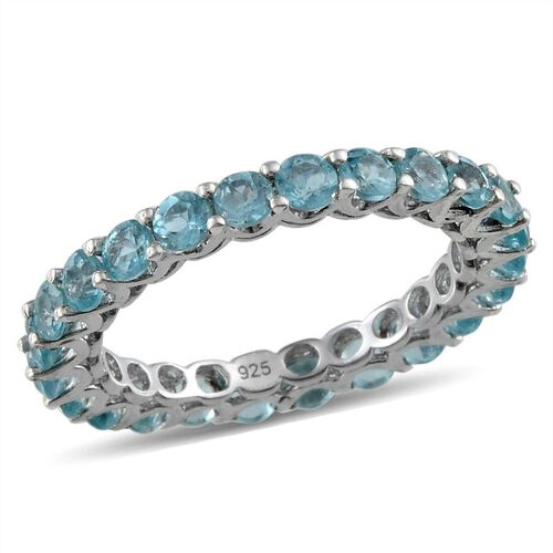 Paraibe Apatite (Rnd) Full Eternity Ring in Platinum Overlay Sterling Silver 2.250 Ct.