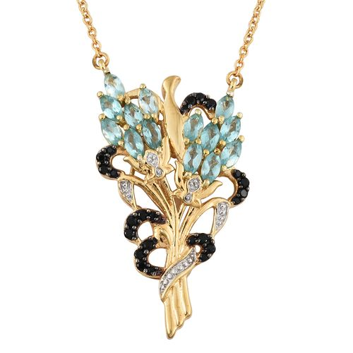 GP Paraiba Apatite (Mrq), Boi Ploi Black Spinel and Kanchanaburi Blue Sapphire Nature Inspired Pendant with Chain in 14K Gold Overlay Sterling Silver 2.750 Ct. Silver wt 7.19 Gms.