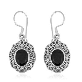 Royal Bali Collection Boi Ploi Black Spinel (Ovl) Hook Earrings in Sterling Silver 7.095 Ct. Silver wt. 5.96 Gms.
