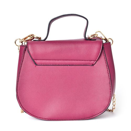 Burgundy Colour Lipstick Design Lock Crossbody Bag with Removable Chain Strap (Size 20X17X8.5 Cm)