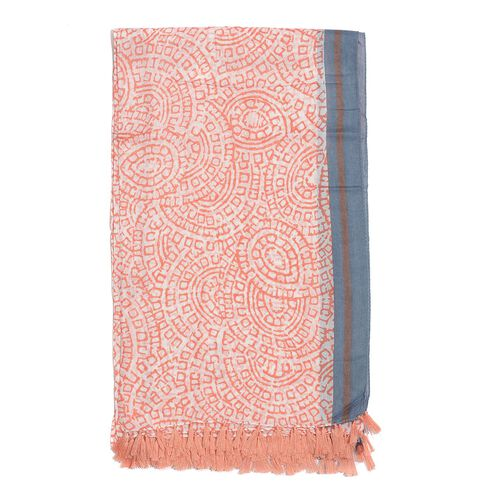 100% Cotton Coral Colour Hand Block Printed Scarf (Size 175x105 Cm)