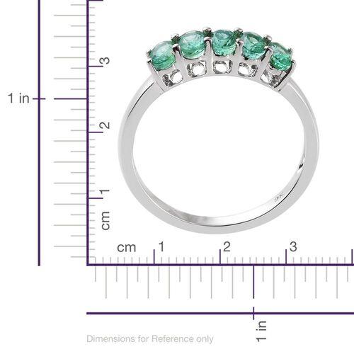 9K White Gold 1.25 Carat AA Boyaca Colombian Emerald 5 Stone Ring