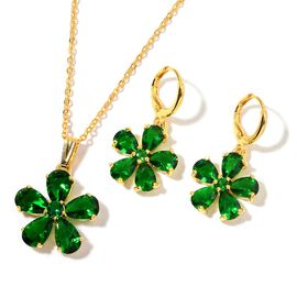 AAA Simulated Emerald Flower Pendant with Chain (Size 22) and Earrings in Gold Tone