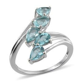 9K W Gold AA Paraibe Apatite (Pear) 5 Stone Crossover Ring 2.250 Ct.