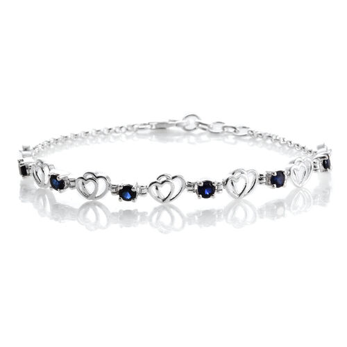 Designer Inspired Simulated Blue Sapphire (Rnd) Bracelet (Size 7.5 with Half Inch Extender) in Sterling Silver. Silver Wt 6.03 Gms