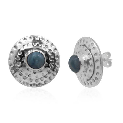 Royal Bali Collecton Larimar (Rnd) Stud Earrings (with Push Back) in Sterling Silver 4.050 Ct.