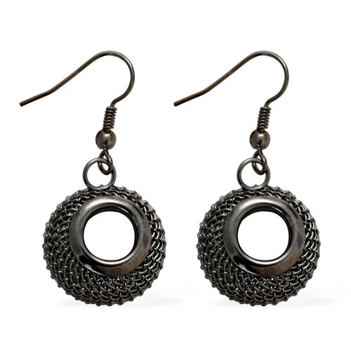 Black Tone 3D-Diamond Cut Mesh Circle of Life Pendant with Chain (Size 20 with extender) and Earrings set