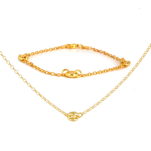 14K Gold Overlay Sterling Silver Necklace (Size 20) and Bracelet (Size 7.5), Silver wt 8.00 Gms.