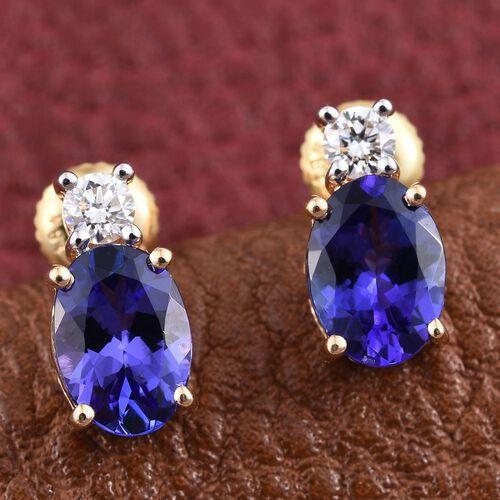 ILIANA 18K Yellow Gold  2 Carat AAA Tanzanite Oval, Diamond SI G-H Stud Earrings with Screw Back.