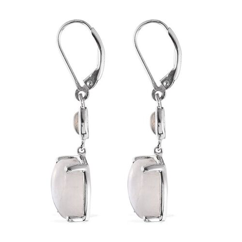 Natural Rainbow Moonstone (Cush) Earrings in Platinum Overlay Sterling Silver 14.500 Ct.