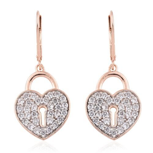 Natural Cambodian Zircon Heart Lock Lever Back Earrings in Rose Gold Vermeil Sterling Silver 1.75 Ct