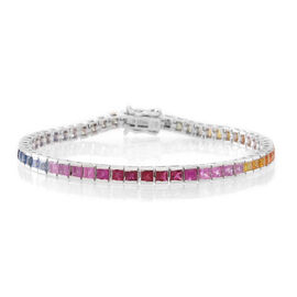 Limited Edition-AAA Rainbow Sapphire (Sqr) Tennis Bracelet (Size 7.5) in Rhodium Plated Sterling Silver 9.500 Ct.
