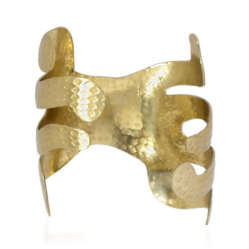 Gold Plated Hammered Brass Cuff Bangle