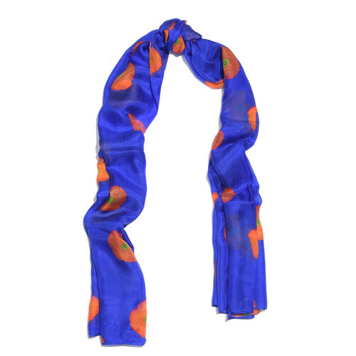 100% Mulberry Silk Blue, Orange and Multi Colour Poppy Flower Pattern Scarf (Size 180X100 Cm)