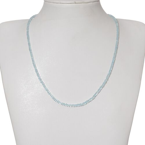 Espirito Santo Aquamarine (Rnd) Necklace (Size 18) in Platinum Overlay Sterling Silver 35.000 Ct.