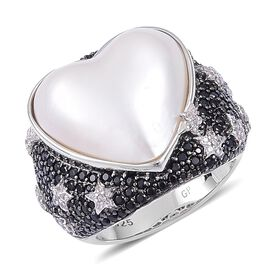 GP White Mabe Pearl, Boi Ploi Black Spinel, White Zircon and Madagascar Blue Sapphire Heart Ring in Black Rhodium Plated Sterling Silver 9.630 Ct.