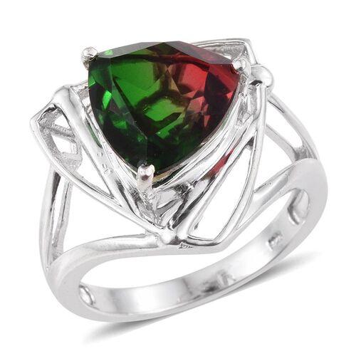 Bi-Color Tourmaline Quartz (Trl) Solitaire Ring in Platinum Overlay Sterling Silver 6.250 Ct.