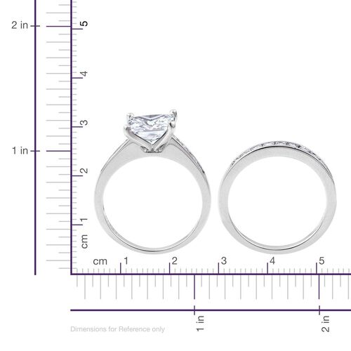 ELANZA AAA Simulated White Diamond 2 Ring Set in Rhodium Plated Sterling Silver