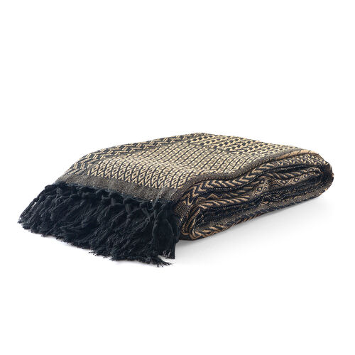 100% Cotton Hand-Woven Black and Brown Colour Bedcover with Fringes (Size 270x220 Cm)