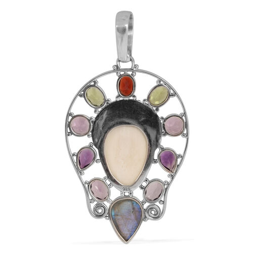 Princess Bali Collection OX Bone Carved Face (Ovl 10.00 Ct), Labradorite, Amethyst, Hebei Peridot and Mozambique Garnet Pendant in Sterling Silver 23.235 Ct.