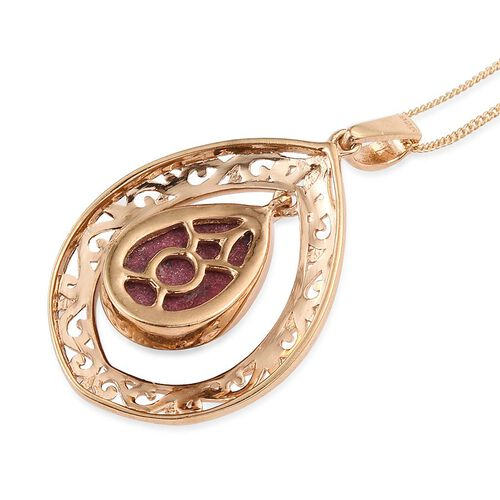 Norwegian Thulite (Pear) Solitaire Pendant With Chain in 14K Gold Overlay Sterling Silver 6.000 Ct.