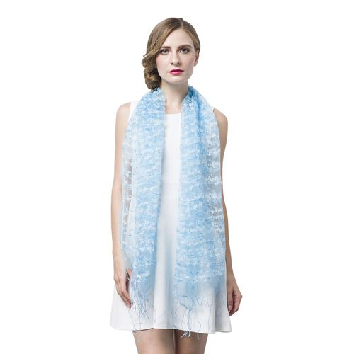 Light Blue and White Colour Small Tassel Flowers Embellished Scarf (Size 160X65 Cm)