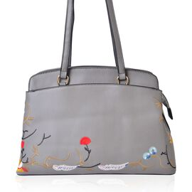 Floral Embroidered Grey Colour Tote Bag (Size 35.5x24x11.5 Cm) with External Zipper Pocket