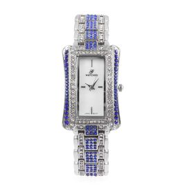 GENOA Japanese Movement White MOP Dial Water Resistant Watch with Blue and White Austrian Crystal in Silver Tone with Chain Strap, Number of Austrian Crystals 274