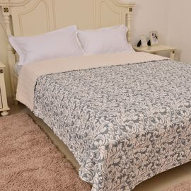 Grey and Cream Colour Printed Microfiber Quilt (Size 260X240 Cm)