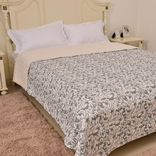 King Size Grey and Cream Colour Printed Microfiber Sherpa Quilt (Size 260X240 Cm)