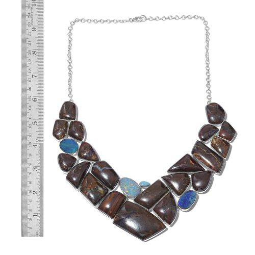 One Off A Kind- Boulder Opal Rock and Opal Double Necklace (Size 18) in Sterling Silver 604.950 Ct. Silver wt 48.81 Gms.