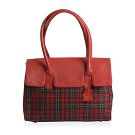 RFID Blocker Red Genuine Leather and Black Tweed Check Pattern Handbag (Size 37X35X7X10 Cm)