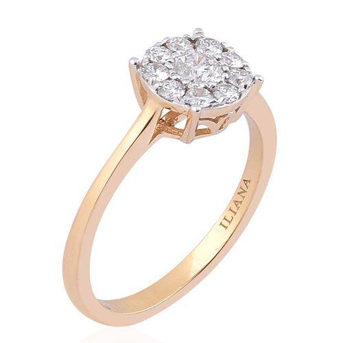 ILIANA 18K Yellow Gold IGI Certified 0.50 Carat Diamond Floral Ring (SI/G-H).