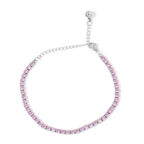 AAA Simulated Pink Sapphire Tennis Bracelet (Size 6.5 with 2 inch Extender) in Stainless Steel