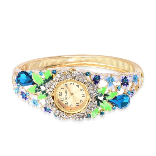 STRADA Japanese Movement Simulated Blue Sapphire, White and Blue Austrian Crystal Blue Enameled Floral Design Bangle Watch in Yellow Gold Tone