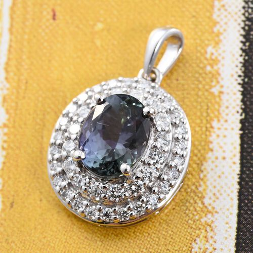 ILIANA 18K White Gold AAA Rare Peacock Tanzanite (Ovl 2.62 Ct), Diamond (SI G-H) Pendant 3.300 Ct.