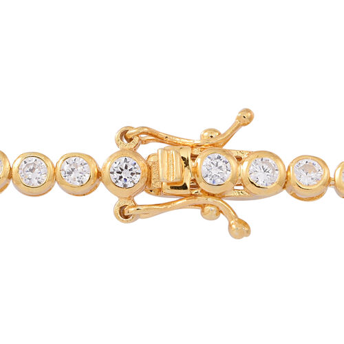 ELANZA AAA Diamond Cut Simulated White Diamond (Rnd) Tennis Bracelet (Size 7) in 14K Gold Overlay Sterling Silver