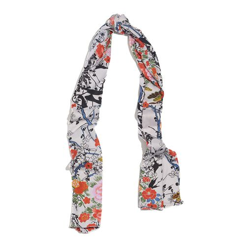 100% Natural Bamboo Fabric Orange and Multi Colour Floral Pattern White Colour Scarf (Size 180x50 Cm)