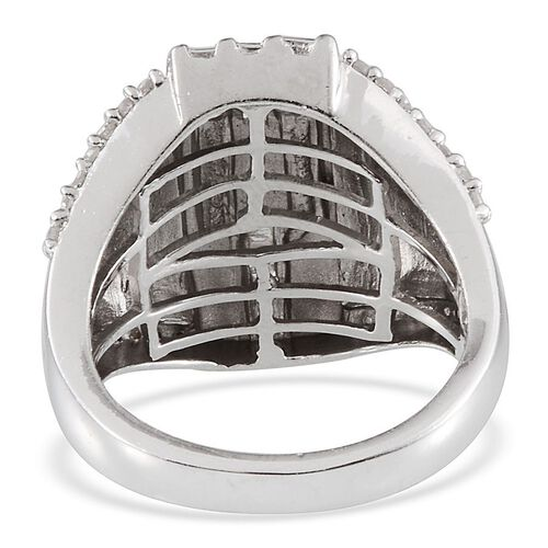 Diamond (Bgt) Ring in Platinum Overlay Sterling Silver 0.350 Ct.