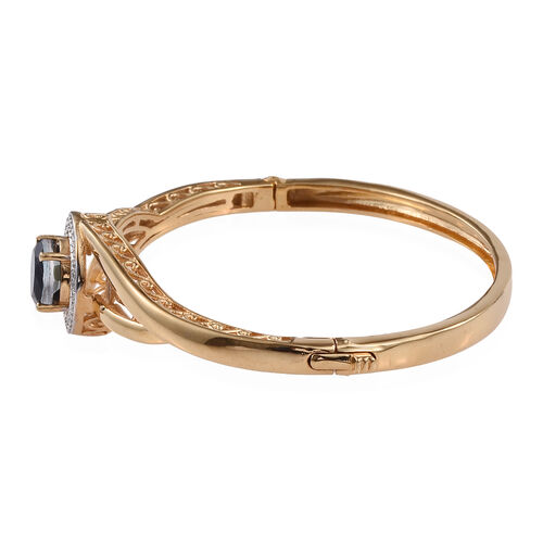 Ceylon Colour Quartz (Rnd) Bangle (Size 7.5) in ION Plated 18K Yellow Gold Bond