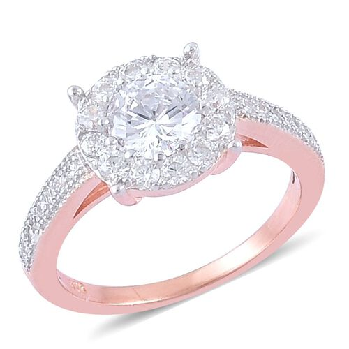 AAA Simulated White Diamond (Rnd) Ring in Rose Gold Overlay Sterling Silver