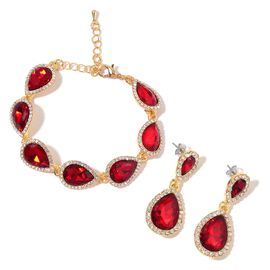 AAA Simulated Ruby and White Austrian Crystal Bracelet (Size 6.5) and Earrings (with Push Back) in Yellow Gold Tone