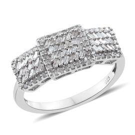 Designer Inspired- Fireworks Diamond (Bgt) Ring in Platinum Overlay Sterling Silver 0.500 Ct. Number of Diamonds 112