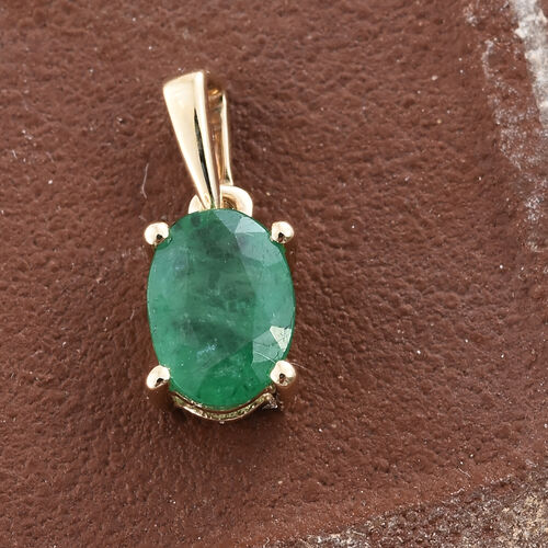 9K Yellow Gold AAA Kagem Zambian Emerald (Ovl) Solitaire Pendant 0.750 Ct.
