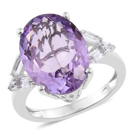AAA Rose De France Amethyst (Ovl 10.90 Ct), White Topaz Ring in Platinum Overlay Sterling Silver 11.750 Ct.